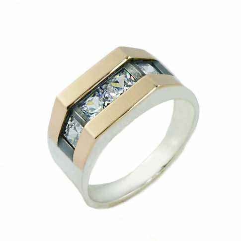 Srebrny pierścionek zdobiony złotem i cyrkoniami