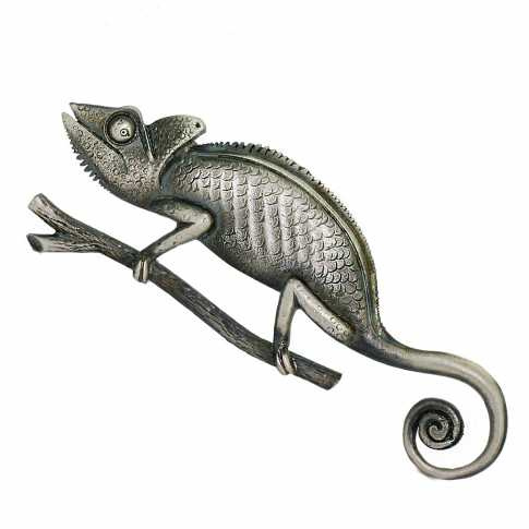 Chameleon Silver Brooch