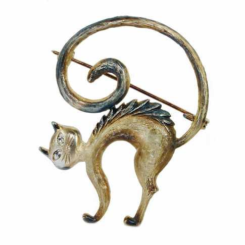 Cat Silver Brooch