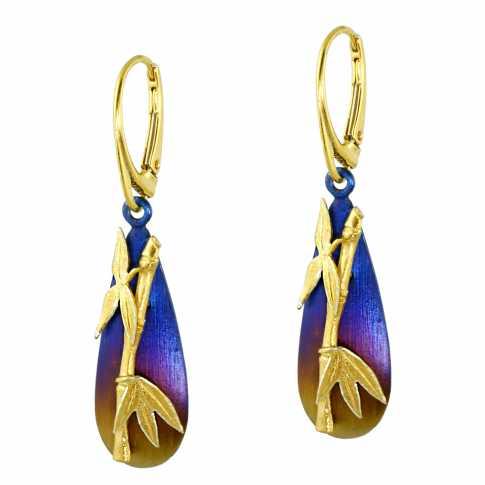 Silver & Titanium Bamboo Earrings