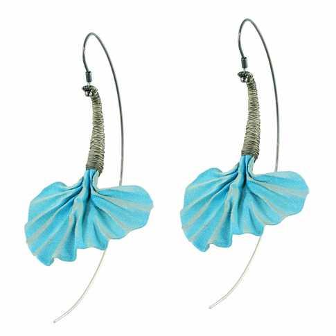 Pawel Kaczynski Steel & Silver Blue Earrings