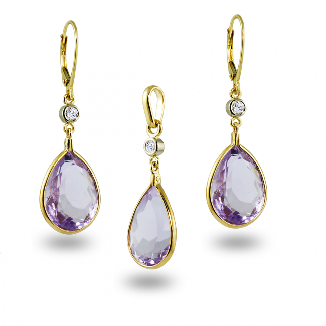 Amethyst & Diamonds Gold Earrings and Pendant