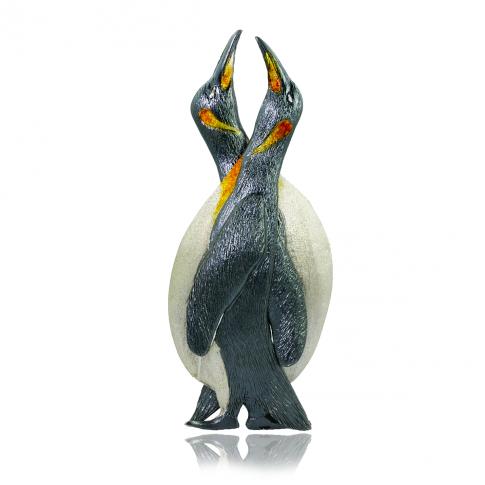 Penguins Silver Brooch