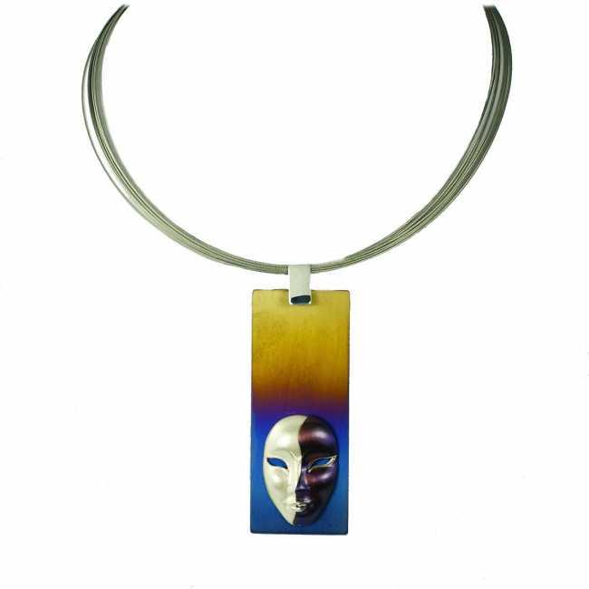 Maska - srebrny naszyjnik