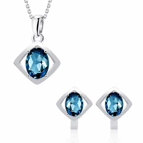 Silver Set Earrings & Pendant London Topaz