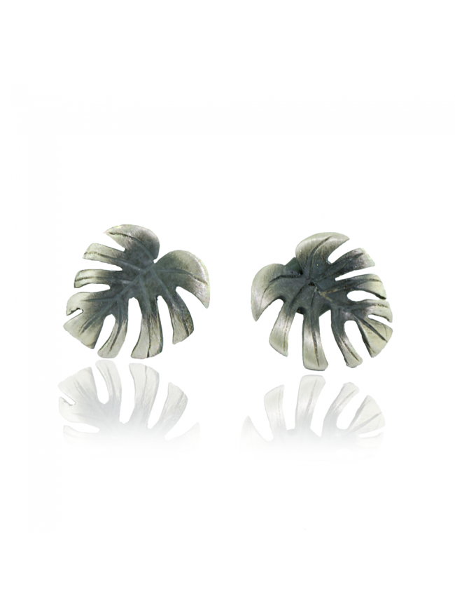 Monstera Silver Earrings