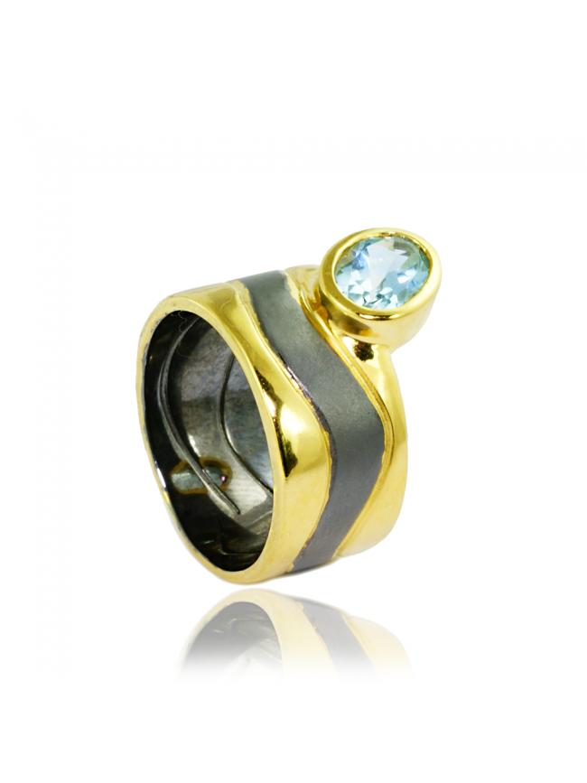 German Kabirski Blue Topaz Ring