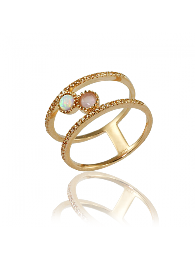 LINE ARGENT ROSE OPAL Silver Ring