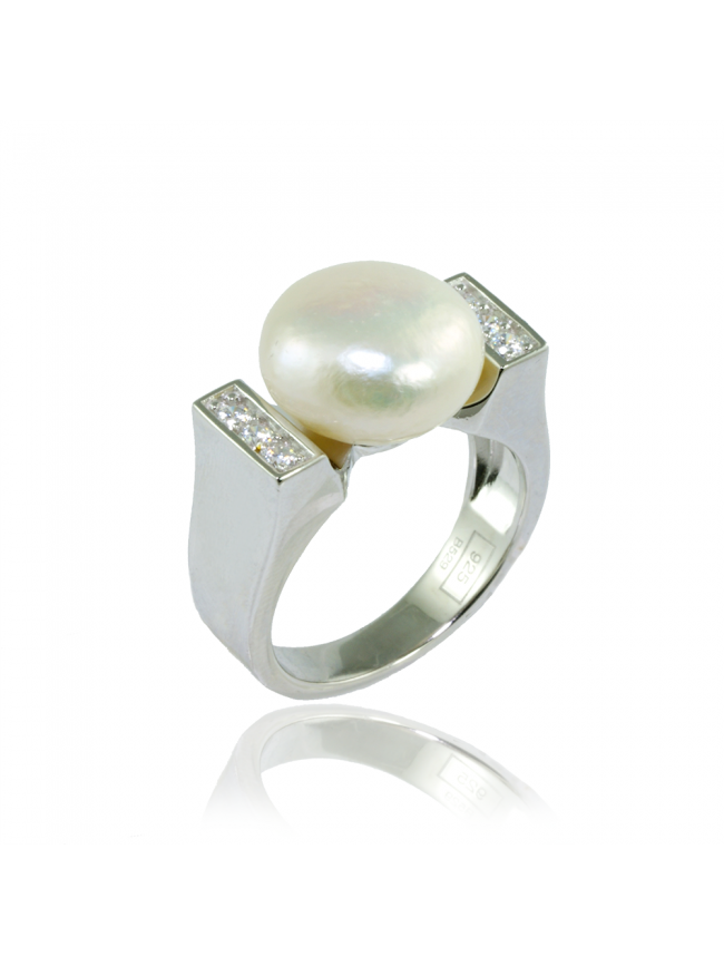 LINE ARGENT Silver Pearl Ring