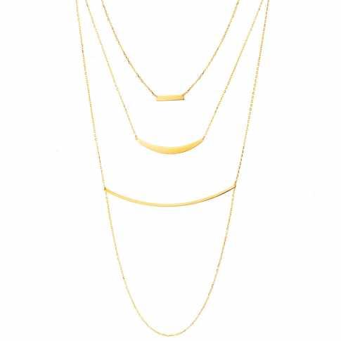 Silver Triple Chain Necklace