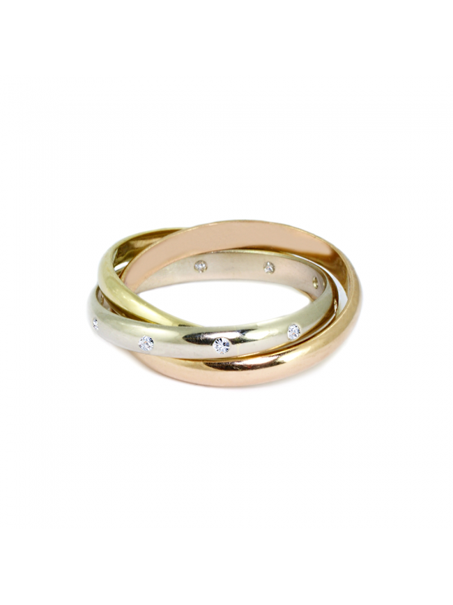 Tricolor Diamonds Ring