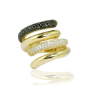 Black & White Zircon Gold 585 Ring