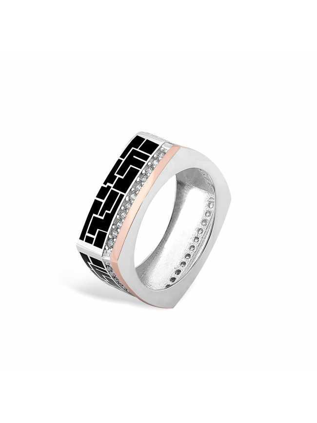 Srebrny pierścionek z emalią i złotem