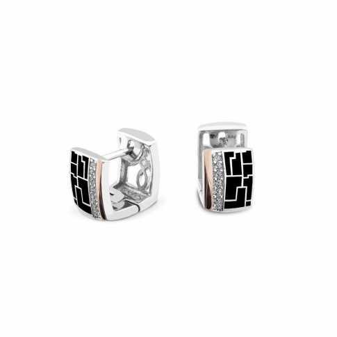 Silver & Gold Enamel Earring