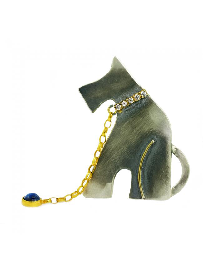 GREY DOG Silver Brooch & Pendant