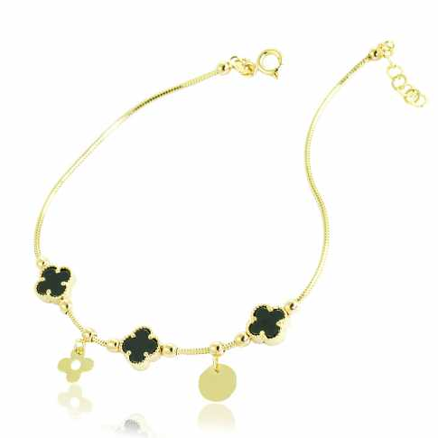 Gold (14) Black Flower Bracelet