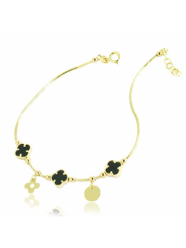 Gold (14) Black Flower Bracelet
