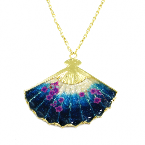 Blue Cherry Blossom Japanese Fan GOLD Necklace