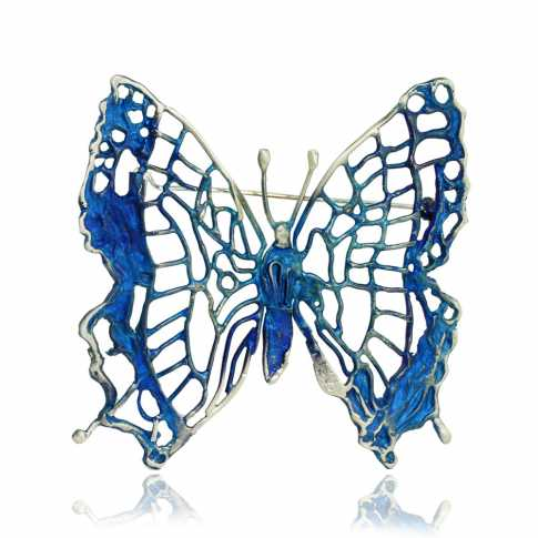 Blue Butterfly Silver Brooch