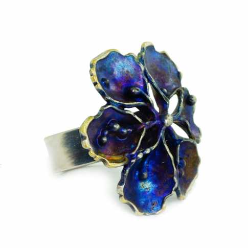 BLUE FLOWER Silver Ring