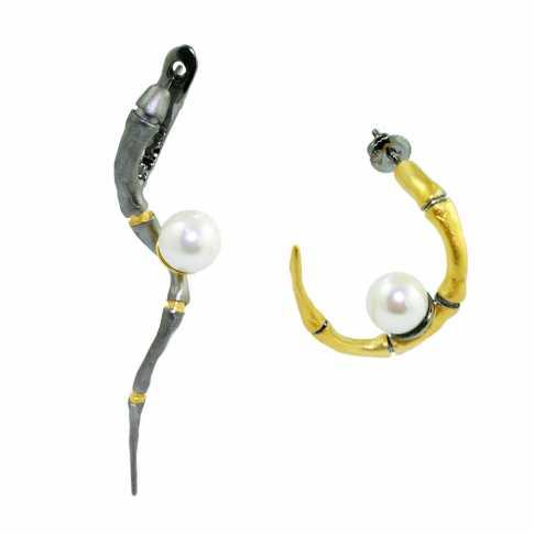 Asymetryczne kolczyki z perłami