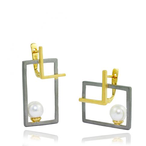 Asymmetrical Pearls Earrings