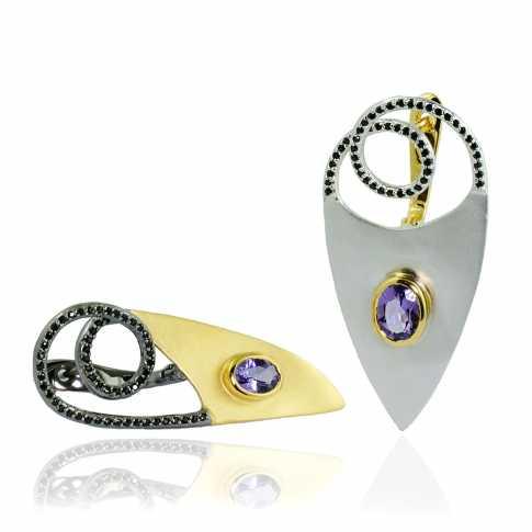 Asymmetrical Amethyst Earrings