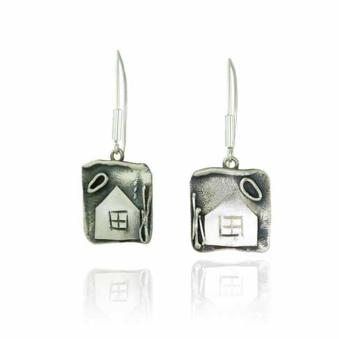 HOUSES Silver Earrings