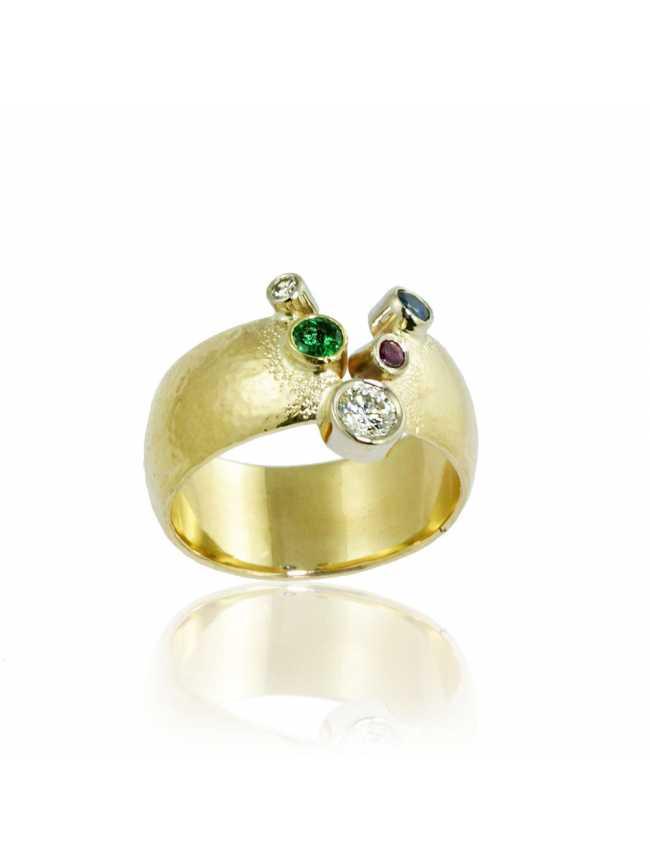 Diamonds Emerlad Sapphire Ruby Gold Ring