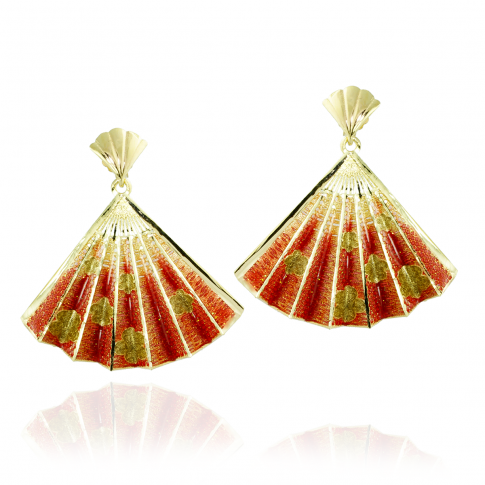Red Fan Golden Earrings