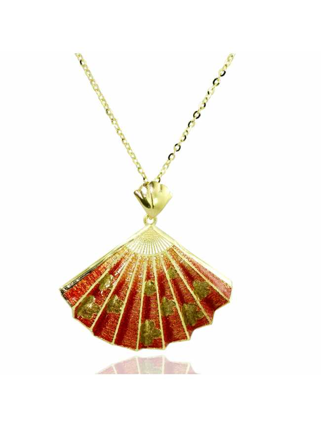 Red Fan Golden Necklace
