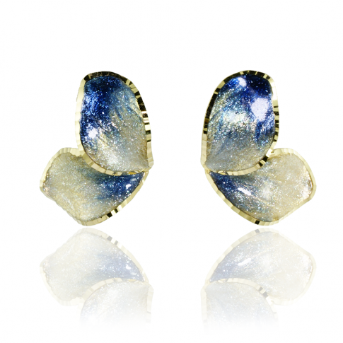 Blue Flower Golden Earrings