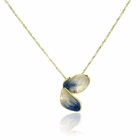 Blue Flower Golden Necklace