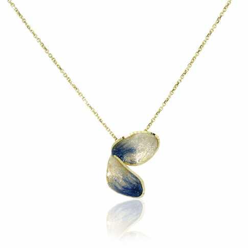 Złoty naszyjnik Błękitny Kwiatuszek