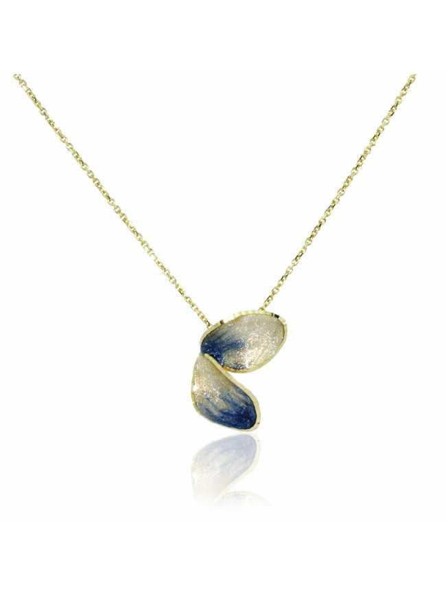 Blue Flower Golden Necklace