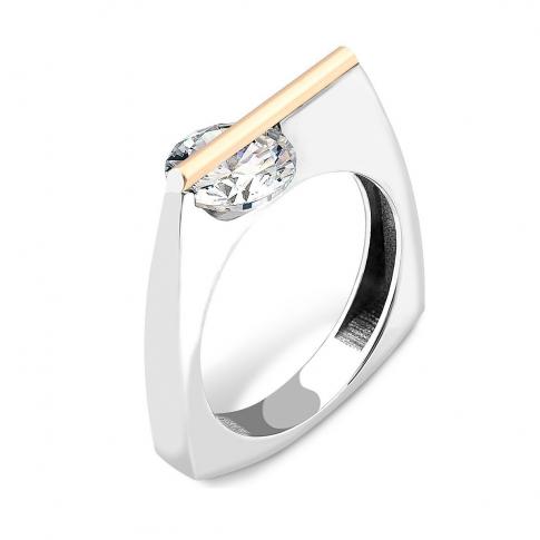 Oryginalny pierścionek ze srebra i złota
