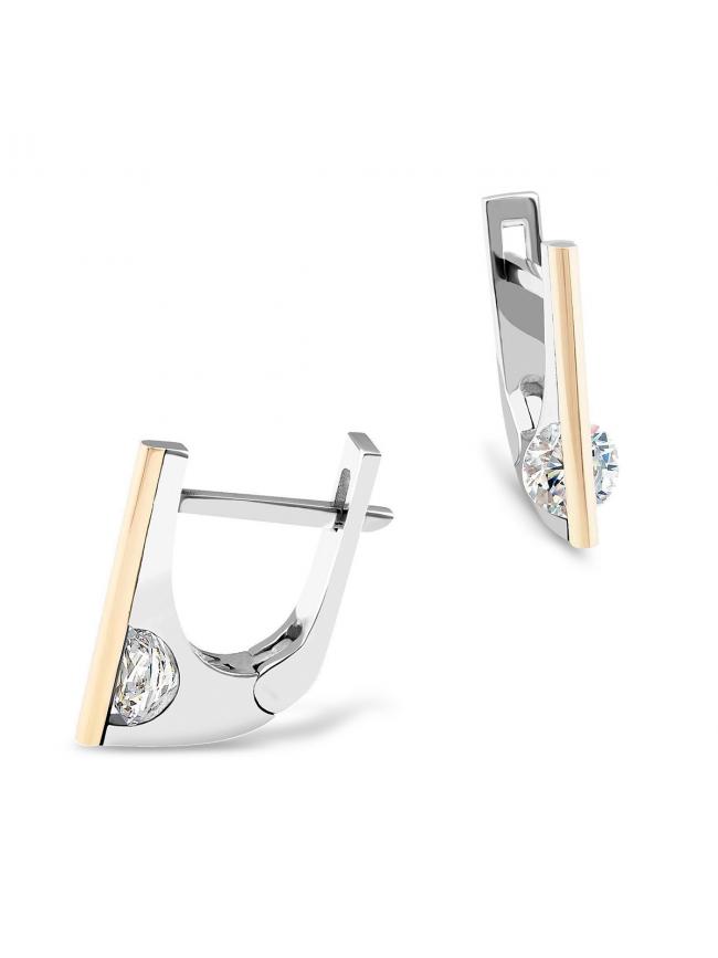Oryginalne kolczyki ze srebra i złota