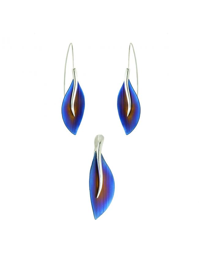 Silver earrings and pendant titanium set
