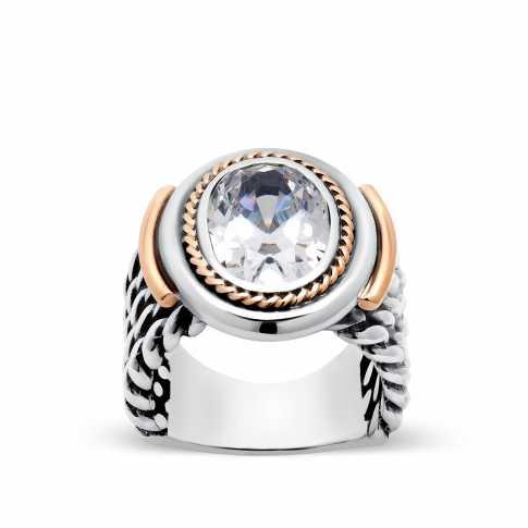 Duży srebrny pierścionek zdobiony złotem