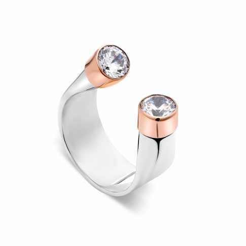 Srebrny pierścionek ze złotymi elementami