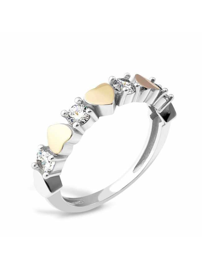 HEARTS Silver and Gold Ring