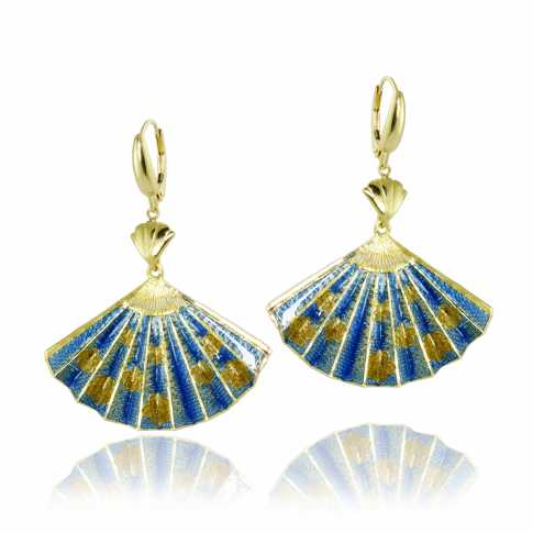 Blue Fan Golden Earrings