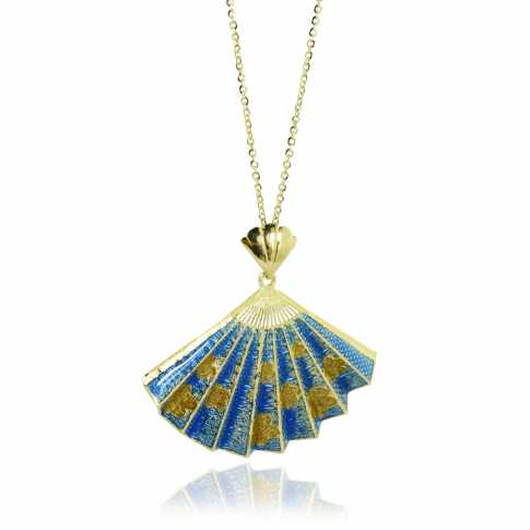 BLUE Fan Golden Necklace