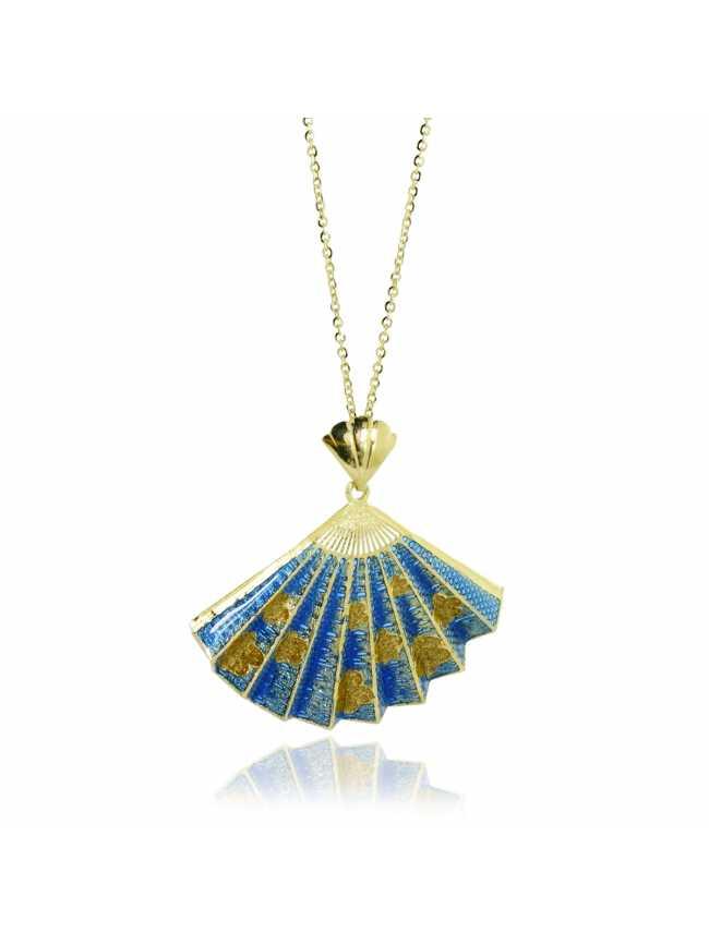 Niebieski Wachlarz-Złoty Naszyjnik