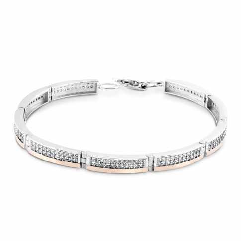 Silver and Gold 375 Zircons Bracelet