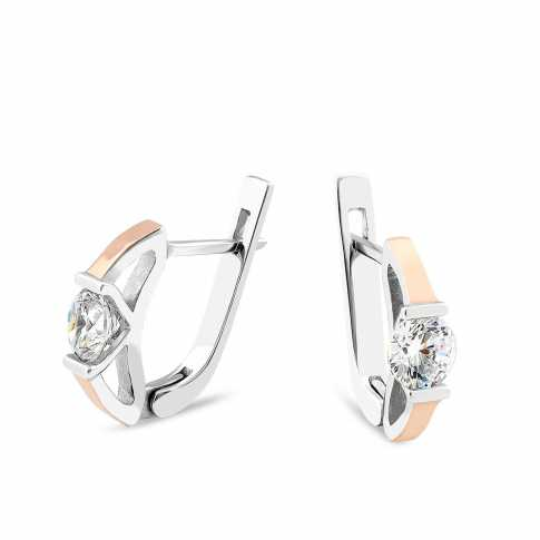 Silver and Gold Zircons Earrings