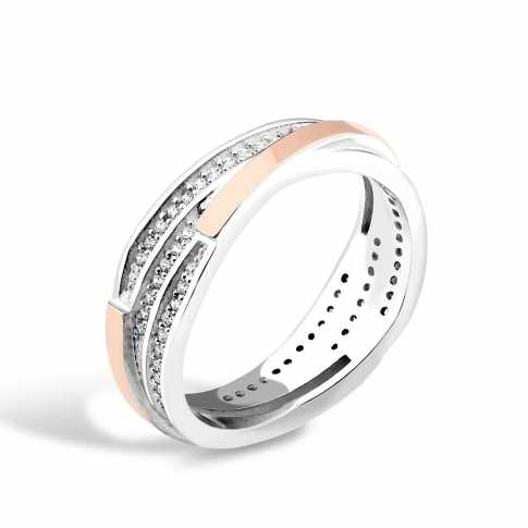 Silver and Gold 375 Zircon RING