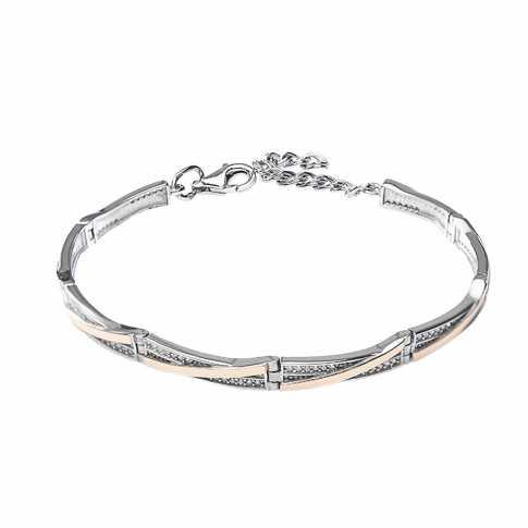 Silver and Gold 375 Zircon Bracelet