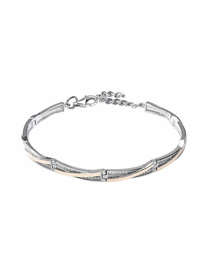 Klasyczna srebrna bransoletka z cyrkoniami i złotem