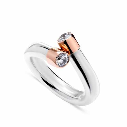 Silver and Rose Gold 375 Zircon RING
